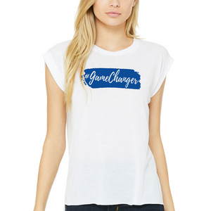 Fempire Flowy Muscle T-Shirt with Rolled Cuff - White