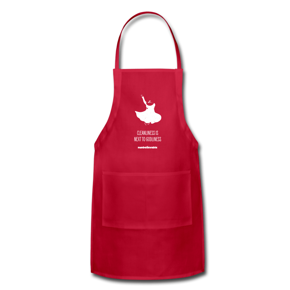 Nunbelievable Adjustable Apron - Cleanliness is Next to Godliness Colored Aprons - red
