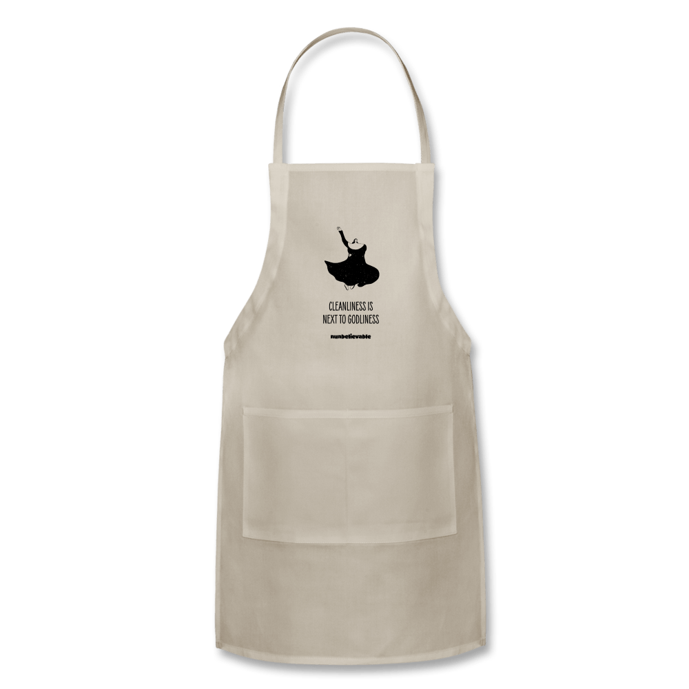 Nunbelievable Adjustable Apron - Cleanliness is Next to Godliness - natural