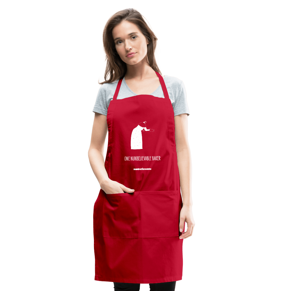 Nunbelievable Adjustable Apron - One Nunbelievable Baker Colored Aprons - red
