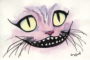 Cheshire Cat Ink Drawing - Pink