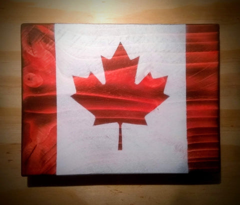 Canada Flag Woodblock Art