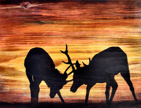 Rutting Stags Silhouette