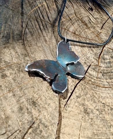 Forged Steel Butterfly Statement Necklace