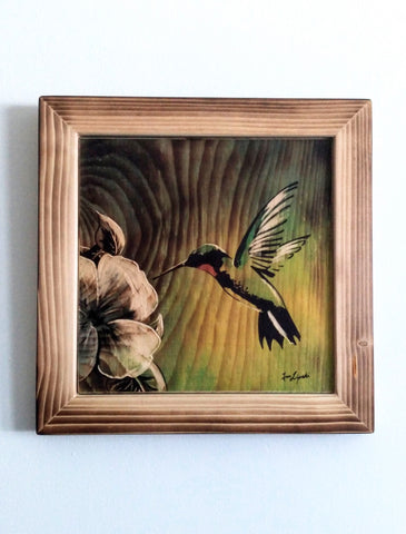 Morning Nectar - Hummingbird Wood Painting