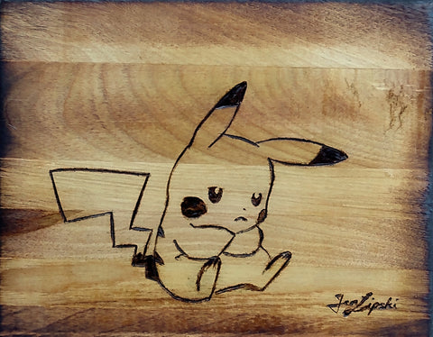 Sad Pikachu Woodburning
