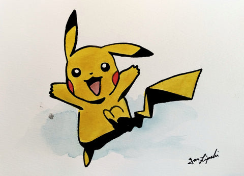 Running Pikachu Ink Drawing