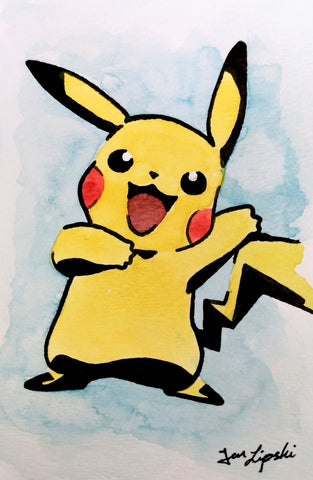 Happy Pikachu Ink Drawing