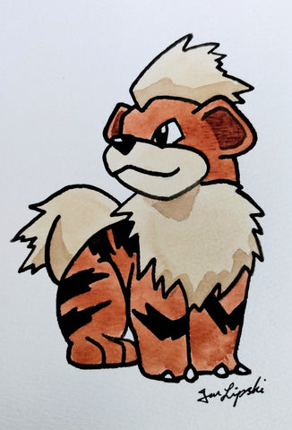 Growlithe Ink Drawing