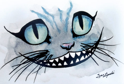 Cheshire Cat Ink Drawing - Blue