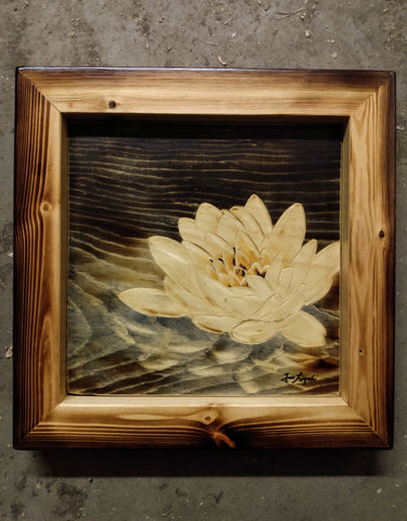 Little Ripples - Water Lily Wood Painting