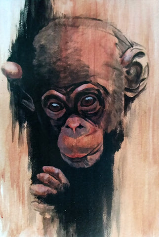 Baby Chimp Portrait (Acrylic on Paper)