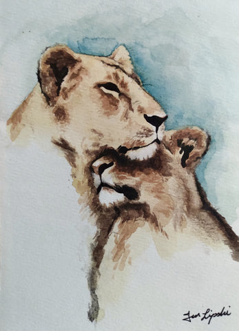 Lion Family Study (Watercolour and Ink)