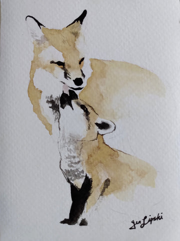 Red Fox Family Study (Watercolour and Ink)