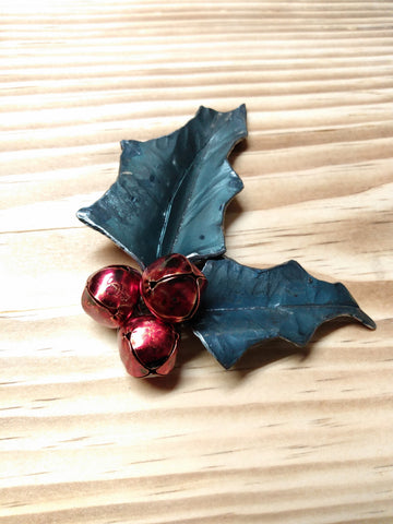 Forged Steel Holly Ornament