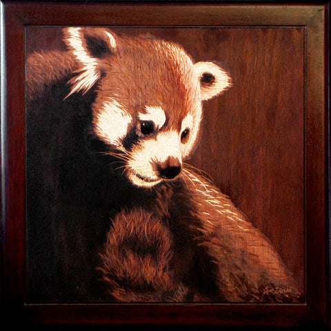 Rufus in Red - Red Panda Woodburning