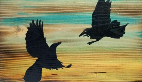 Fighting Ravens Silhouette