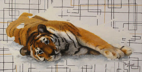Uncaged - Tiger Painting - 12x24""