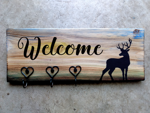 Personalized Plaque + Hook Board - Stag Theme
