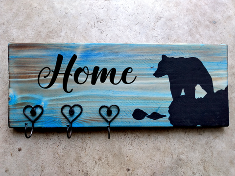 Personalized Plaque + Hook Board - Water's Edge Bear Theme