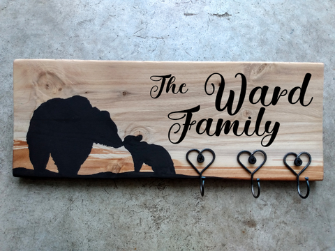 Personalized Plaque + Hook Board - Bear Family Theme