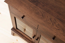 Load image into Gallery viewer, Handmade Contemporary Solid Wood Buffet, Kitchen or Dining Room Cabinet, Silverware and Dinnerware Storage, Classic Credenza, Traditional Sideboard with Glass Doors. Available in Cherry, Walnut or Antique/Reclaimed Chestnut with Custom Engraving Option.