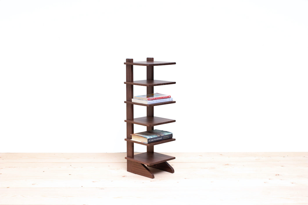 Six-Tier Bookshelf, Bookcase, Book Rack, Compact Organizer, Side or End Table. Traditional Living Room or Bedroom Furniture Handmade of Solid Wood. Available in Natural Cherry or Walnut.