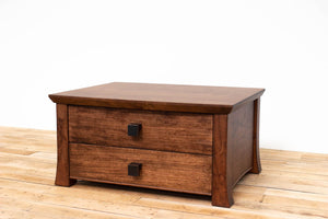 Handmade Solid Wood Silverware Chest, Classic Dinnerware Storage, Tabletop Flatware Box, Traditional Kitchen or Dining Room Furniture with Hinged Lid and Lined Drawer. Available in Cherry, Walnut or Antique/Reclaimed Chestnut with Custom Engraving Option.