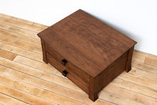Load image into Gallery viewer, Handmade Solid Wood Silverware Chest, Classic Dinnerware Storage, Tabletop Flatware Box, Traditional Kitchen or Dining Room Furniture with Hinged Lid and Lined Drawer. Available in Cherry, Walnut or Antique/Reclaimed Chestnut with Custom Engraving Option.