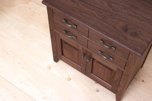 Handmade Contemporary Solid Wood Buffet, Small Kitchen or Dining Room Cabinet, Silverware and Dinnerware Storage, Classic Credenza, Traditional Sideboard. Available in Cherry, Walnut or Antique/Reclaimed Chestnut with Custom Engraving Option.