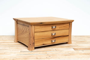 Handmade Solid Wood Silverware Chest, Classic Dinnerware Storage, Tabletop Flatware Box, Traditional Kitchen or Dining Room Furniture with Lined Drawers. Available in Cherry, Walnut or Antique/Reclaimed Chestnut with Custom Engraving Option.