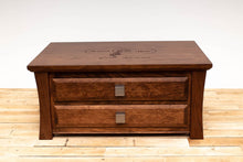 Load image into Gallery viewer, Handmade Solid Wood Silverware Chest, Classic Dinnerware Storage, Tabletop Flatware Box, Traditional Kitchen or Dining Room Furniture with Hinged Lid and Lined Drawers. Available in Cherry, Walnut or Antique/Reclaimed Chestnut with Custom Engraving Option.