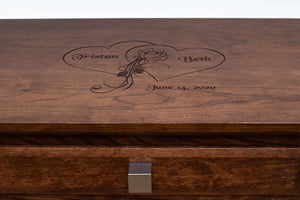 Handmade Solid Wood Silverware Chest, Classic Dinnerware Storage, Tabletop Flatware Box, Traditional Kitchen or Dining Room Furniture with Hinged Lid and Lined Drawers. Available in Cherry, Walnut or Antique/Reclaimed Chestnut with Custom Engraving Option.