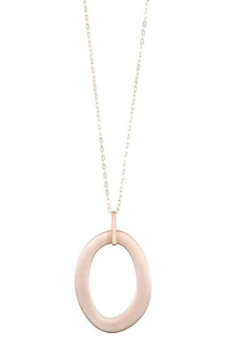 Oval cut out pendant long necklace