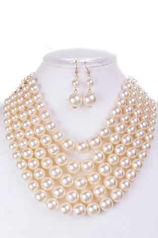 Pearl Chunky Necklace And Earring Set