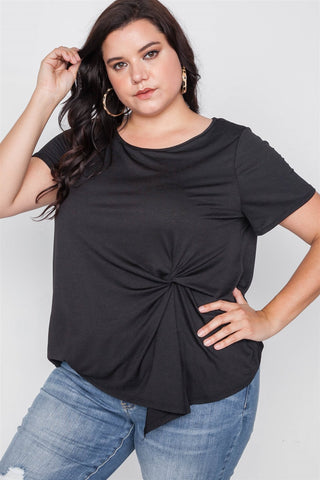 Plus Size Short Sleeve Twist Front Top