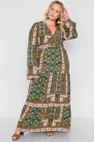 Plus Size Multi Print V-neck Long Sleeve Maxi Dress