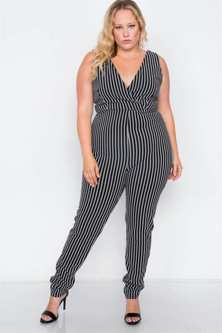 Plus Size Black Stripe V-neck Bodycon Jumpsuit