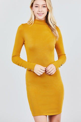 Long Sleeve W/button Detail High Neck Knit Mini Dress