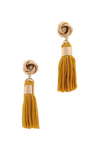 Knot Tassel Post Drop Earring