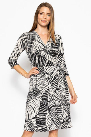 V-neck Line 3/4 Sleeve Dress