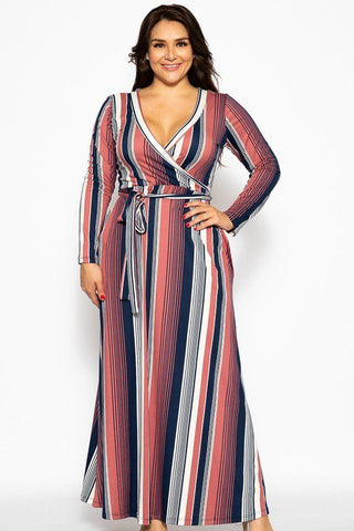 Flattering Autumn Maxi Wrap Dress