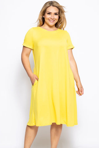 Crew Neckline Solid A-line Dress