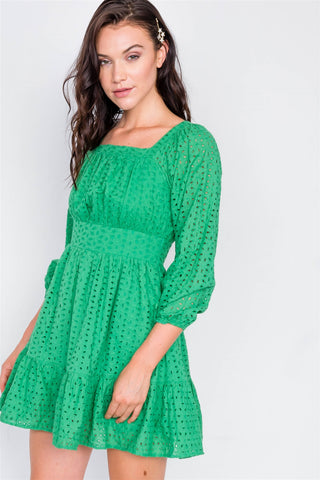 Kelly Green Lace Floral Eyelet Mini Midi Frill Dress