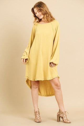 Linen Blend Long Puff Sleeve Round Neck High Low Dress