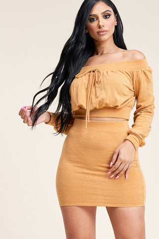 Solid French Terry Long Sleeve Off The Shoulder Top And Skirt Two Piece Set
