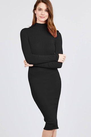 Long Sleeve Mock Neck Rib Sweater Midi Dress