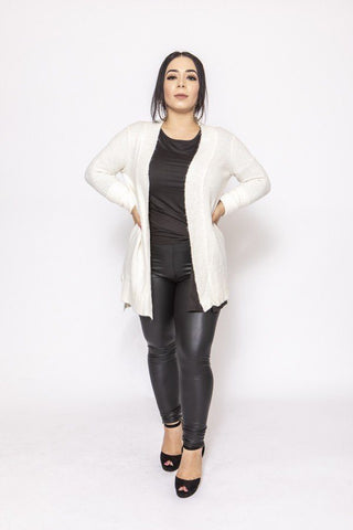 Solid, Waffle Knit Cardigan In Loose Fit