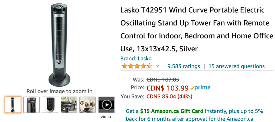 Amazon Canada Deals: Save 44% on Portable Electric Oscillating Tower + 44% on Ohuhu Saucer Tree Swing for Kids + More Offer