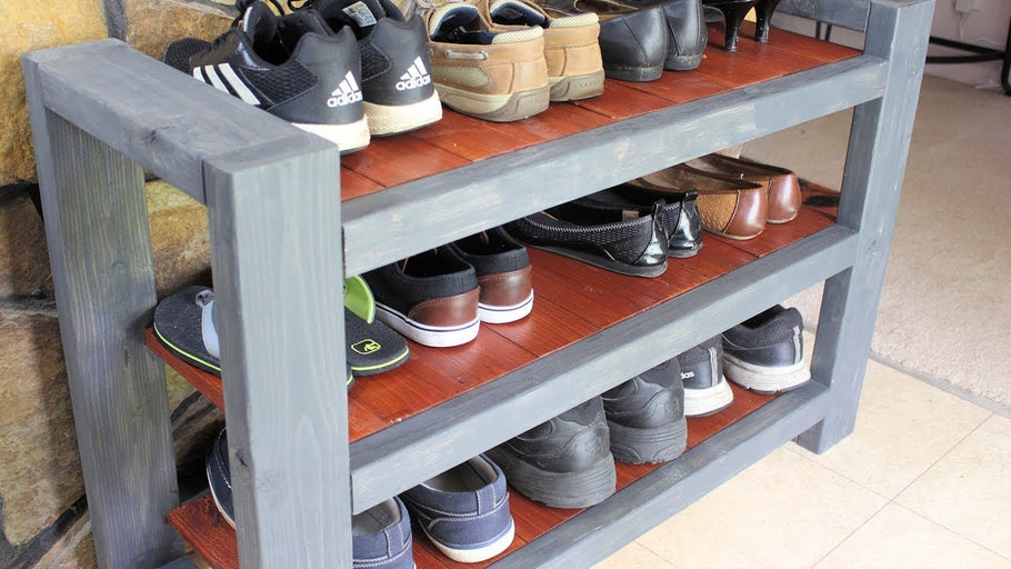 Shoe Rack Shelf DIY Custom We store many of our shoes at the front door and they tend to pile up and get in the way